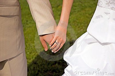 Bride groom hands