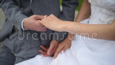 Bride and groom hands on the wedding day stock video footage