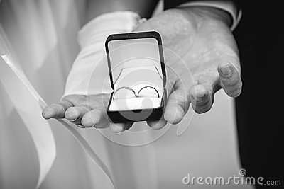 Bride and groom holding box with wedding rings