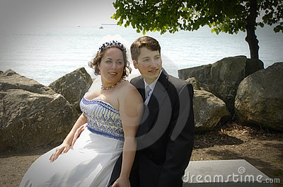 Bride and Groom by lakefront