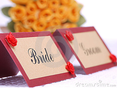 Bride and groom namecards