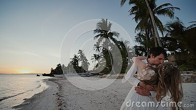 The bride and groom by the ocean. Kisses at sunset on a beautiful tropical beach with palm trees. Romantic married. Couple. Sensual embrace. Incredibly stock video