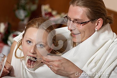 Bride and groom in one soup