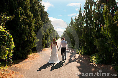 Bride and groom on path