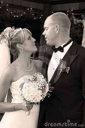 A bride and groom portrait.