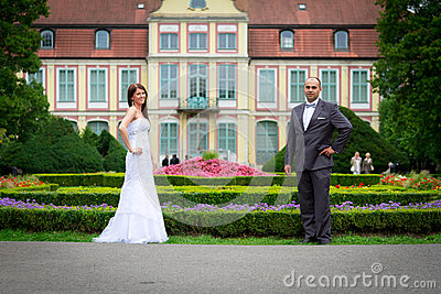 Bride and groom portrait at baroque palace