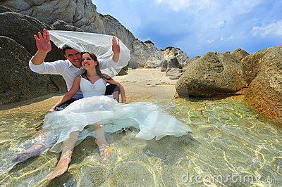 Bride and groom portrait - trash the dress