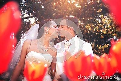 Bride and groom posing in park