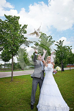 Bride and groom release pigeon