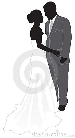 Bride & Groom Silhouette Stock Photography - Image: 3460772