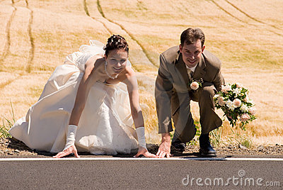 Bride and groom on starting line