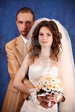Bride and groom  in studio