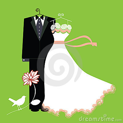 Bride and groom suit and gown on hangers