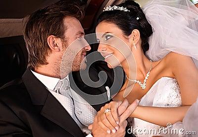 Bride and groom tender look