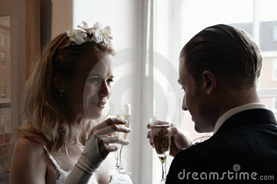 Bride and Groom Toasting Champaign
