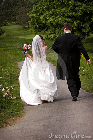 Bride and Groom walking away
