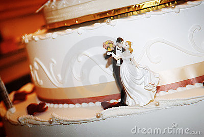 Bride & Groom On Wedding Cake
