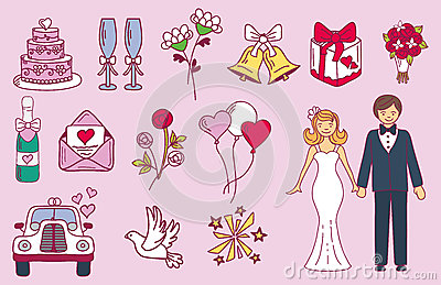 Bride and groom wedding couple marriage nuptial icons design ceremony celebration and holliday people folk icons beauty Vector Illustration