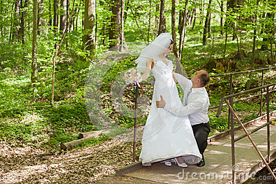 Bride and groom on a wedding day