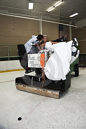Bride and Groom on Zamboni