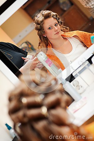 Bride at the hairdresser