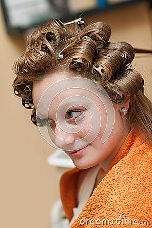Bride at the hairdresser