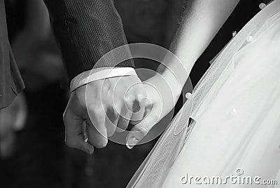 Bride hand in groom hand