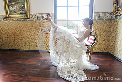 Bride in her wedding day feeling great