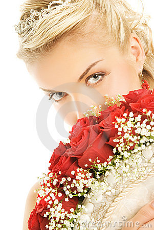 Bride hiding luxury bouquet