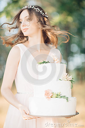 Free Bride Holding A Wedding Cake Stock Photos - 84681323
