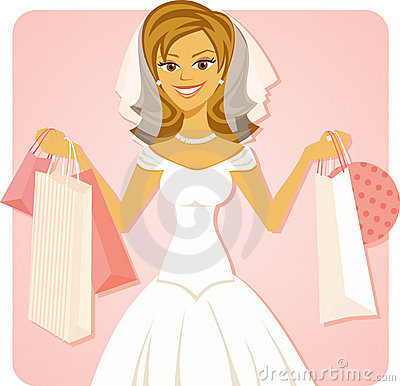 Bride holding shopping bags