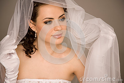 Bride holding the veil