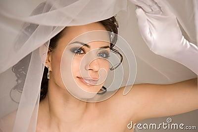 Bride holding the veil
