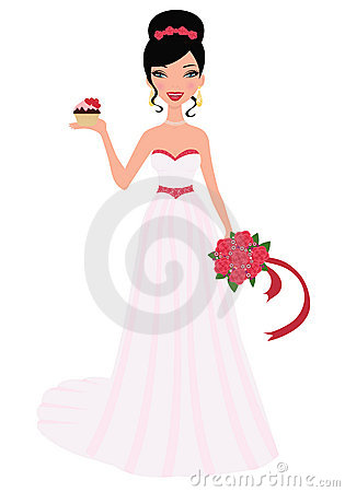Bride holding wedding bouquet and cupcak