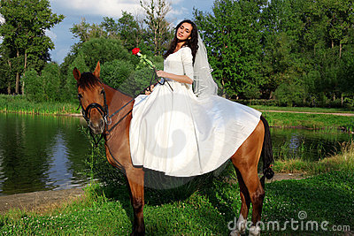 Bride horseback at horse