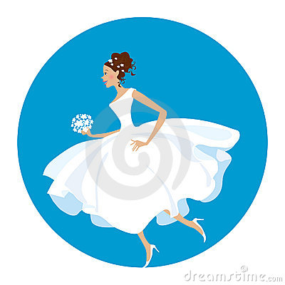 Bride is  in a hurry