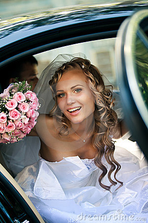 Free Bride In A Car Stock Photography - 22005742