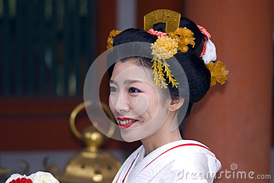 Bride at Kasuga Taisha shrine, Nara, Japan Editorial Photography