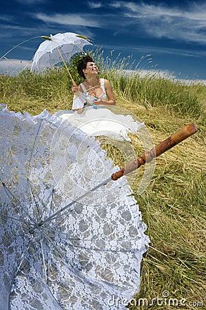 Bride and lace umbrella