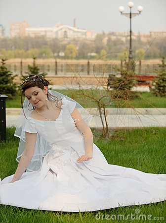 The bride on a lawn