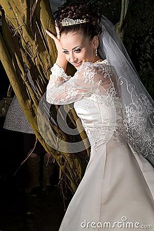 Bride in light spot