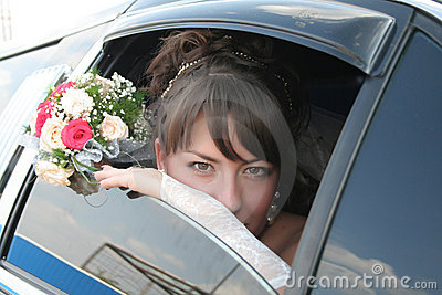 Bride in the limousine