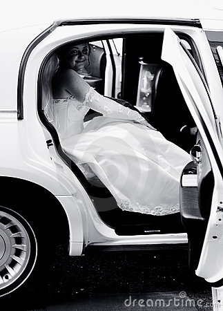 Bride in a limousine