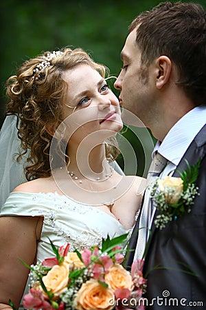 Bride looking in groom s eyes