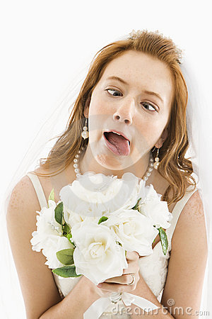 Bride making funny face.
