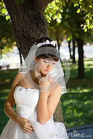 The bride in a meditative pose