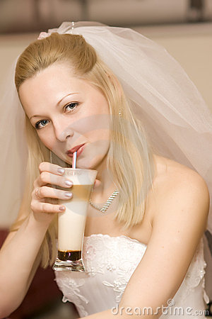 Bride with a milk shake