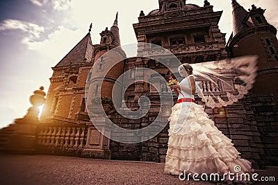 Bride near the ancient castle