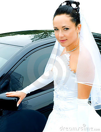 Bride near the car