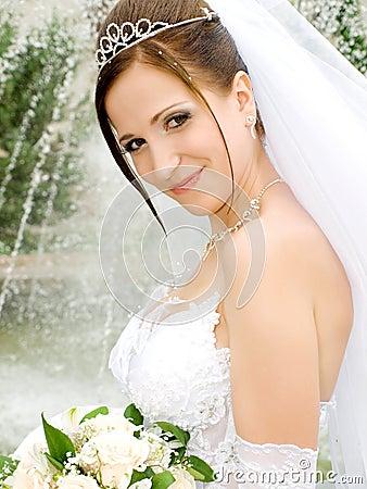 Bride near the fountain